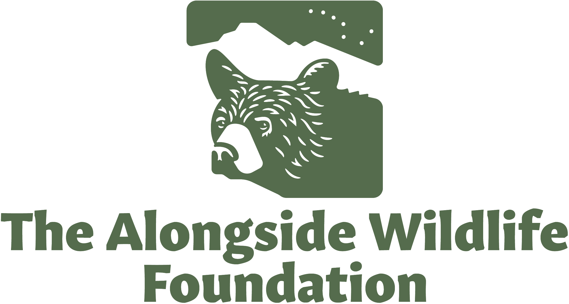 The Alongside Wildlife Foundation logotype, featuring a black bear in profile. Green artwork above green text.