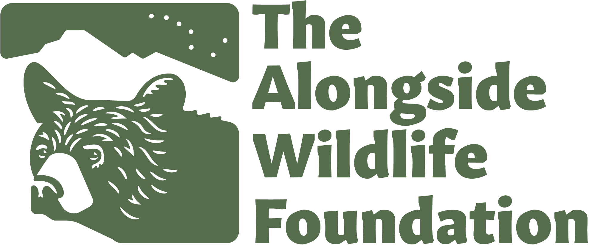 The Alongside Wildlife Foundation logotype, featuring a black bear in profile. Green artwork beside green text.
